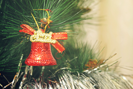 Toy on the Christmas tree - Bell Merry Christmas! Stock Photo