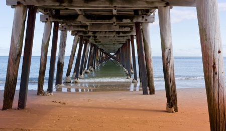 Wooden planks on the beach in Adelaide photo