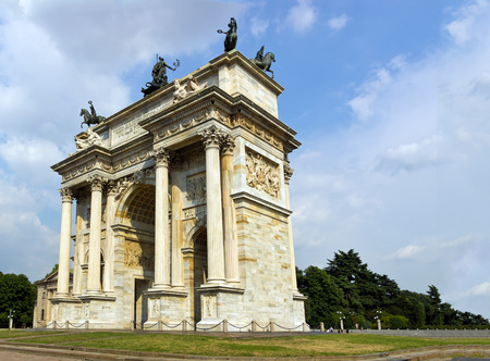 pace: Arco della Pace in milan Stock Photo