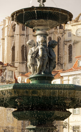 baixa: fountain on the rossio-place in lisbon Stock Photo