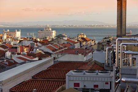 baixa: Evening in Lisbon Stock Photo
