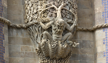 enormously: Sea monsters at Tritontor of Pena Palace in Sintra Editorial