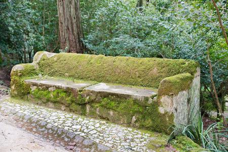 sintra: stony park bench in Sintra Stock Photo