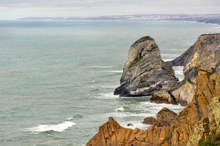 romp: Stony coast in Cabo da Roca Stock Photo