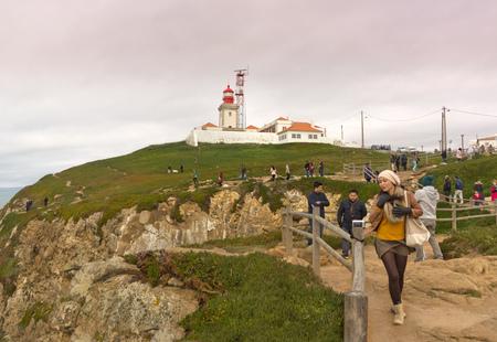 roca: Coastal Cabo da Roca with lighthouse in Portugal