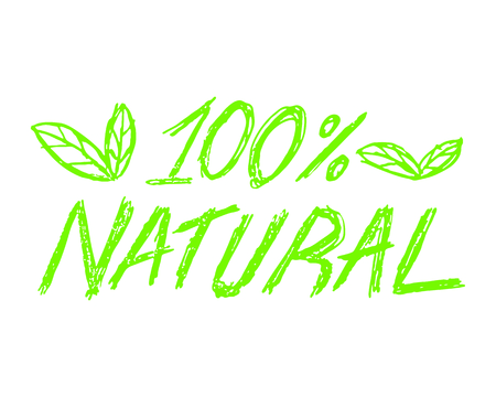 100% natural icon vector illustration on white background.