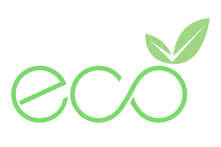 An eco icon with leaf vector illustration on white background. Çizim