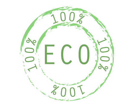 100% eco logo green