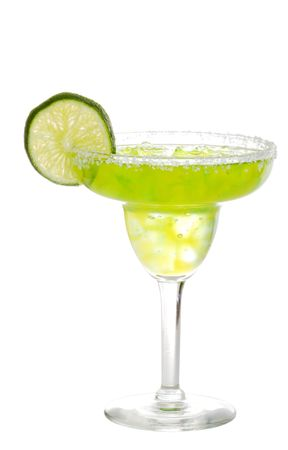 lime margarita with a slice of lime photo