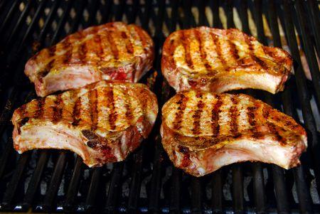 Barbecue Pork Chops Banco de Imagens