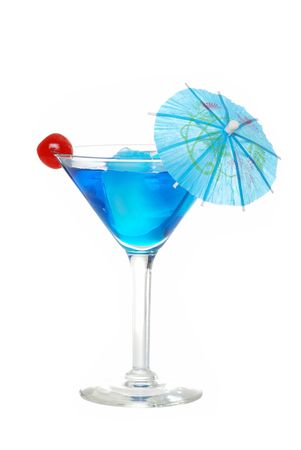 shot:   Blue martini with a cherry Stock Photo