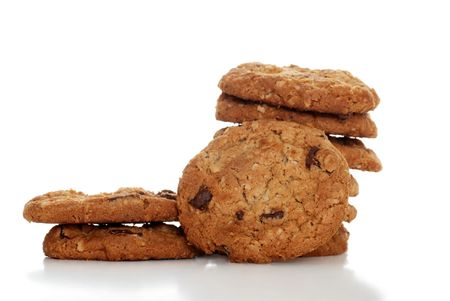 oatmeal:   Isolated pile of oatmeal chocolate chip cookies Stock Photo