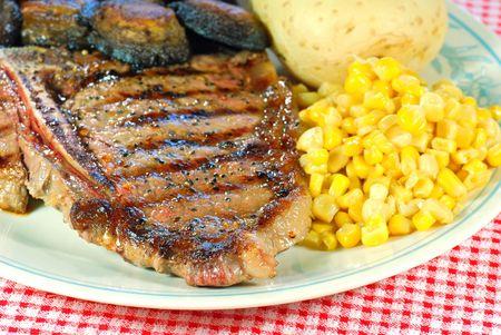 t bone steak: barbecue T Bone steak close up