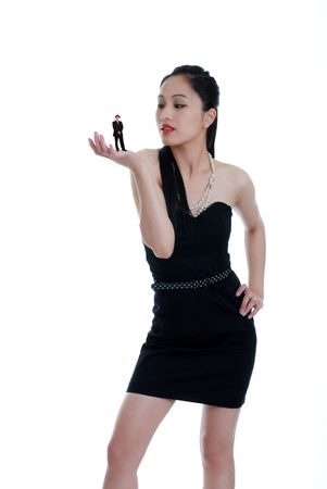 up date: Asian woman sizing up her date Stock Photo