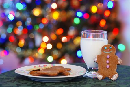 snack: gingerbread men cookies and milk for santa Stock Photo