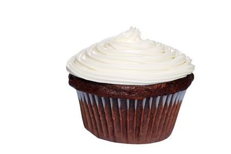 sweetest: Isolated Chocolate cupcake with vanilla frosting