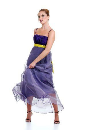 woman in a purple dress dancing photo