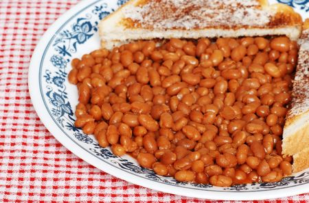 baked: Baked beans and toast Stock Photo
