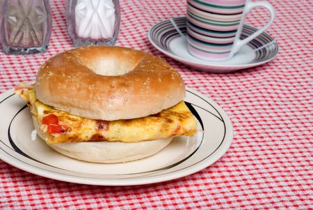 Bagel and Omelet sandwich close up photo