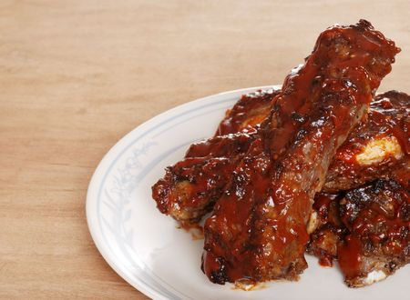 barbecue sauce covered beef spare ribs Stock Photo