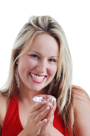 blonde woman excited about a big diamond photo
