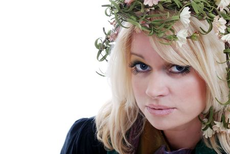 blue eyed blond woman wearing a laurel wreath photo
