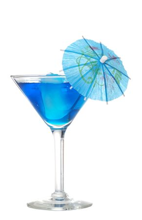 sweet vermouth:  Blue martini with an umbrella Stock Photo