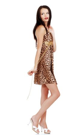 european woman wearing animal print dress photo