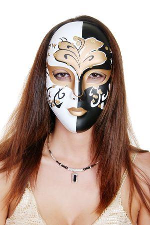 brunette woman wearing a mask photo