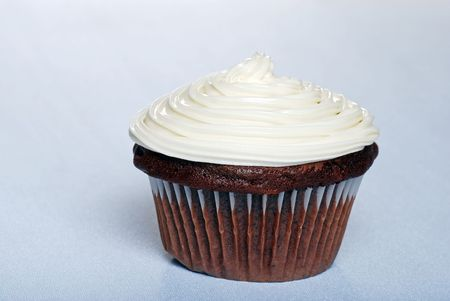 sweetest: Chocolate cupcake with vanilla frosting Stock Photo