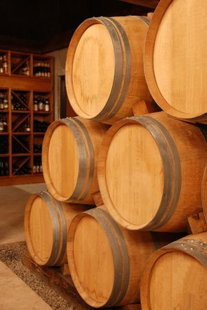 wine stored in barrels photo