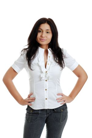 hand on hip:  Young hispanic woman with hands on hips