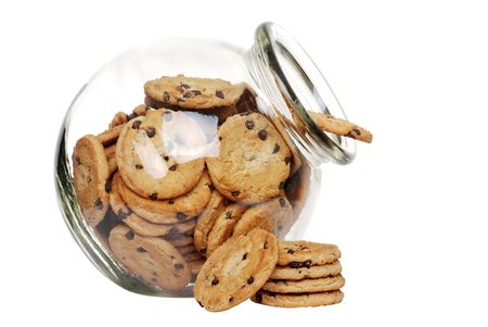 homemade cookies: chocolate chip cookies in a cookie jar Stock Photo