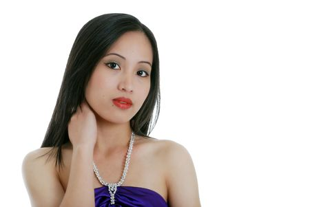 philippine adult: young oriental woman wearing a diamond necklace