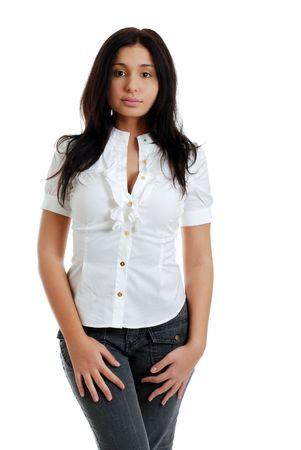 young sexy hispanic woman with white top isolated photo