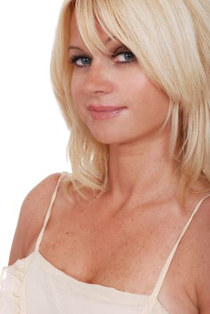 spaghetti strap: blonde wearing a spaghetti strap dress