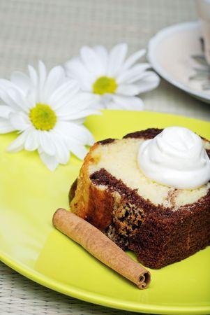 chocolate pound cake with whip cream photo