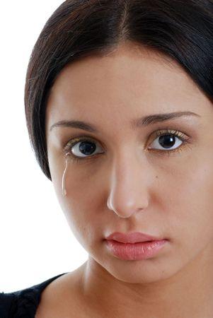 Young hispanic woman crying photo