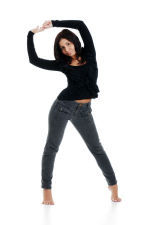 sexy girl dance: Young hispanic woman isolated Stock Photo