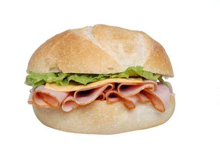 salame: Closeup prosciutto formaggio lattuga panino Archivio Fotografico