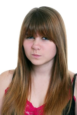 disgusted: Isolated disgusted female teenager on a white background