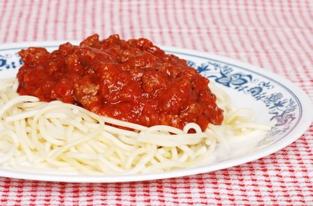 closeup long noodle spaghetti with meat sauce Stock Photo