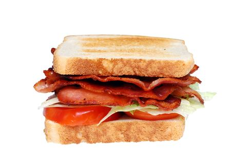 分離焼いたベーコン レタス トマト クラブ サンドイッチ 写真素材 - 5576230