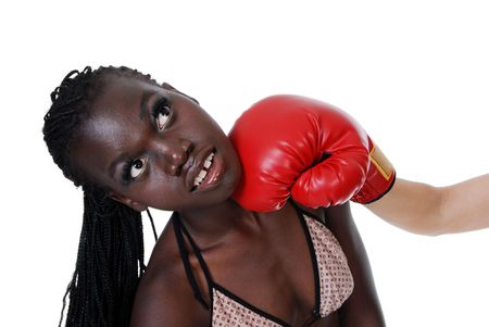 female boxer getting punched photo