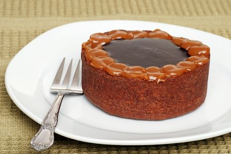 chocolaty: Chocolate toffee cake on a plate