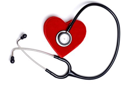 stethoscope with a red heart box 스톡 콘텐츠