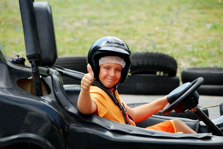 carting: Young Boy in Go Cart