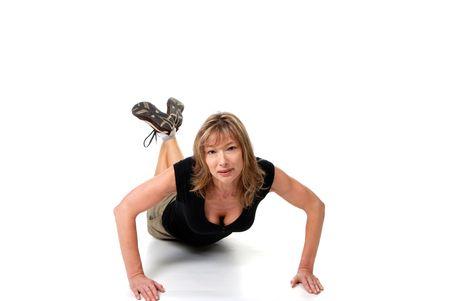 female doing push ups isolated photo