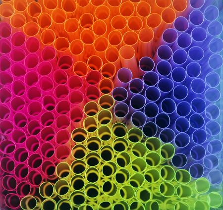 rainbow cocktail:   colorful straws making a background