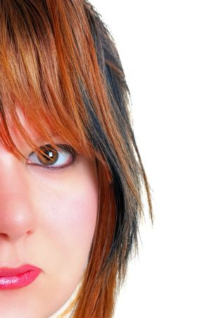 young womens: Young womens face isolated